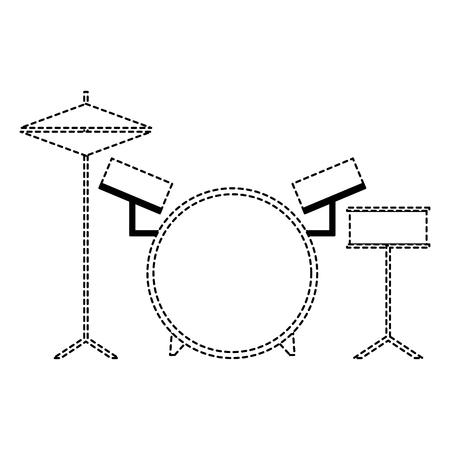 musical drums battery set instruments vector illustration dotted line Illustration