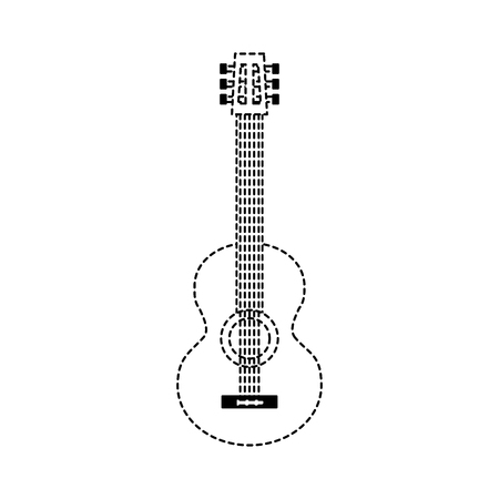 classic guitar instrument musical image vector illustration dotted line