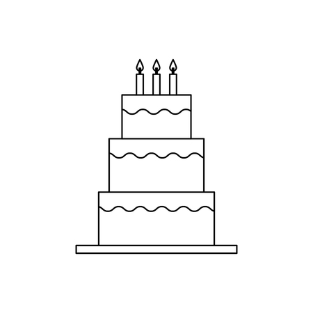 sweet birthday cake with candles decoration vector illustration outline design Ilustrace