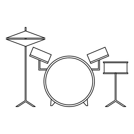 musical drums battery set instruments vector illustration outline design Stock Illustratie