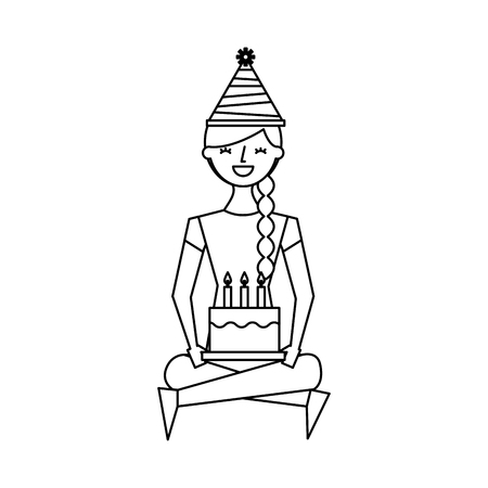 happy girl sitting in floor with birthday cake vector illustration outline design