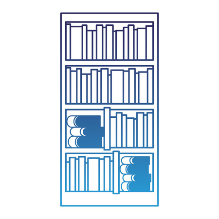 large bookcase with different books literature vector illustration degraded blue Stock Illustratie