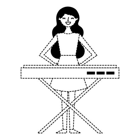 cute cartoon happy woman playing synthesizer vector illustration dotted line Illustration