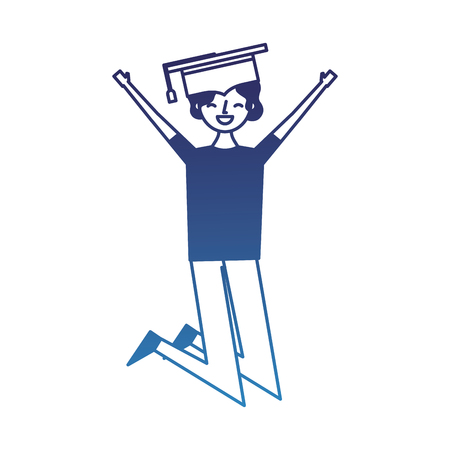 cartoon character young graduate woman jump from happiness vector illustration degraded blue