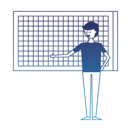 happy cartoon man pointing in board presentation vector illustration degraded blue