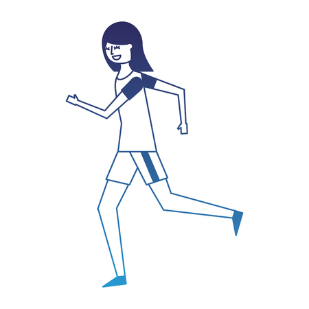 fitness woman running in sport clothes vector illustration degraded blue