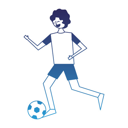 young man running with soccer ball vector illustration degraded blue
