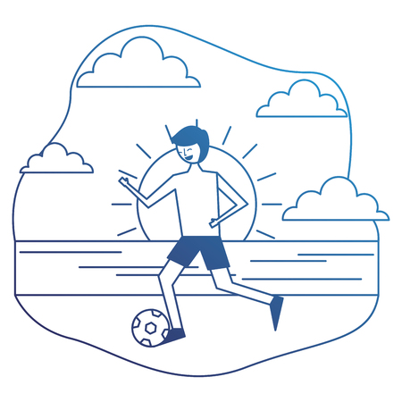 young man in swimsuit playing with ball in the beach vector illustration degraded blue Illustration