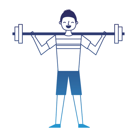 young man training lifting weight barbell vector illustration degraded blue Illustration