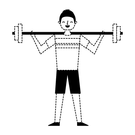 young man training lifting weight barbell vector illustration dotted line