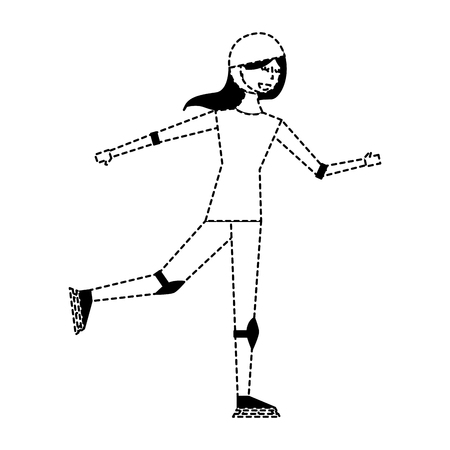 happy young woman ice skating with protection vector illustration dotted line