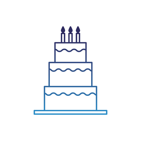 sweet birthday cake with candles decoration vector illustration degraded blue