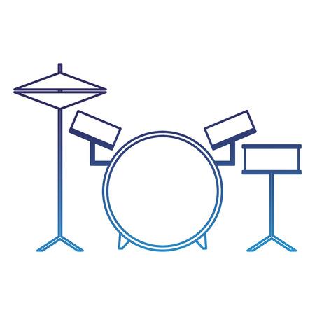 musical drums battery set instruments vector illustration degraded blue Illustration