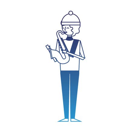 musician young man playing saxophone in warm clothes vector illustration degraded blue