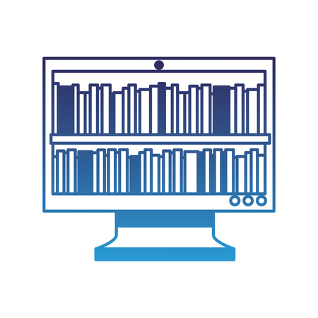 モニター画面上の本オンライン図書館教育ベクトルイラストは青色に劣化  イラスト・ベクター素材