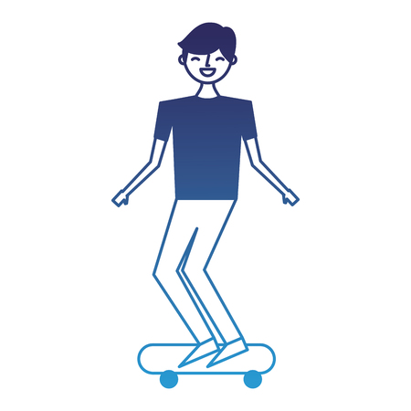 young man riding on skateboard enjoying vector illustration degraded blue