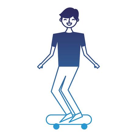 young man riding on skateboard enjoying vector illustration degraded blue