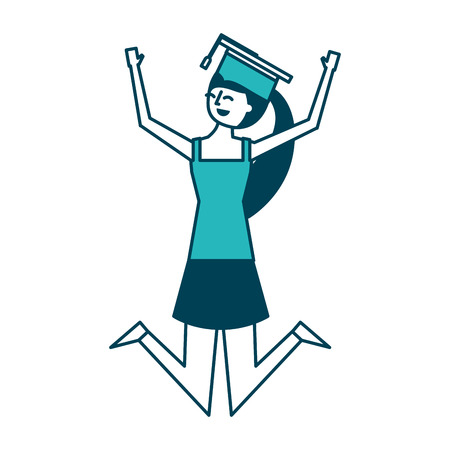 cartoon character young graduate woman jump from happiness vector illustration green design