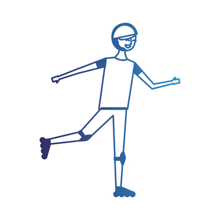 happy young man riding in roller skate sport vector illustration degraded blue