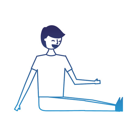 man sitting on the floor with legs stretched vector illustration degraded blue