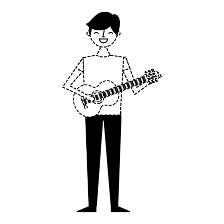 young musician man playing guitar vector illustration dotted line