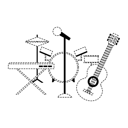 musical instruments saxophone synthesizer guitar battery microphone vector illustration dotted line Illustration