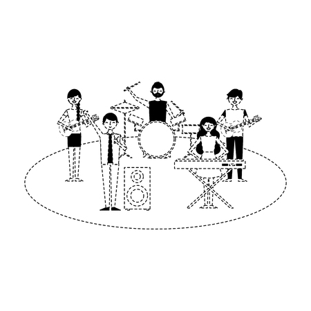 musician band concert people with instruments vector illustration dotted line 向量圖像