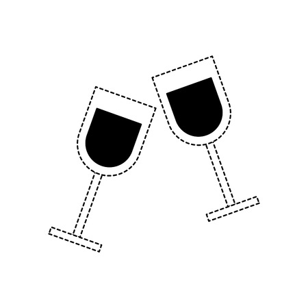 two glass cup liquor drink image vector illustration dotted line 일러스트