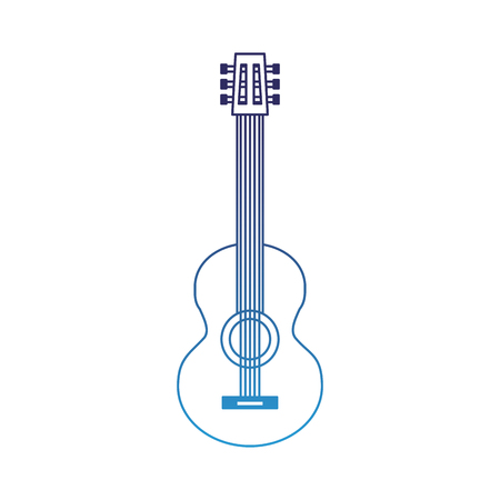 classic guitar instrument musical image vector illustration degraded blue