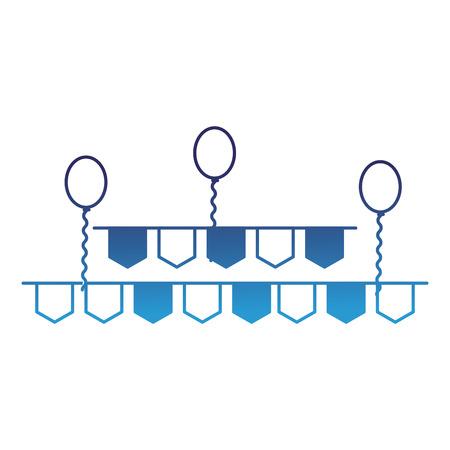 ペナントと風船パーティーの装飾ベクトルイラストは青を劣化