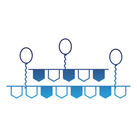 pennant and balloons party decoration vector illustration degraded blue