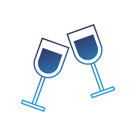 two glass cup liquor drink image vector illustration degraded blue