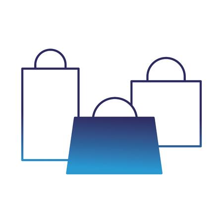 set of shopping paper bag gift vector illustration degraded blue