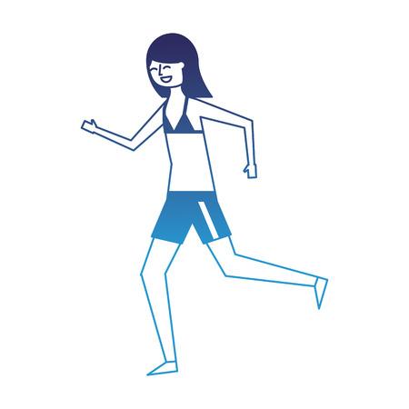 happy woman in swimsuit running image vector illustration degraded blue Illustration