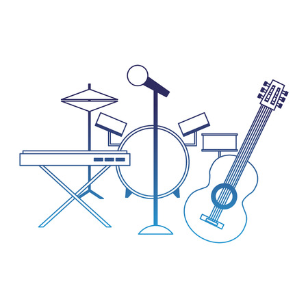 musical instruments saxophone synthesizer guitar battery microphone vector illustration degraded blue