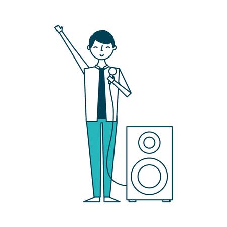 Hombre músico cantando canción micrófono y altavoz de audio ilustración vectorial diseño verde Foto de archivo - 97673635