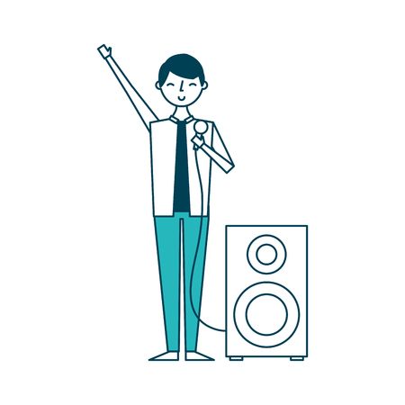 musician man singing song microphone and audio speaker vector illustration green design