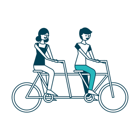 cute happy couple riding in tandem bike recreation vector illustration green design