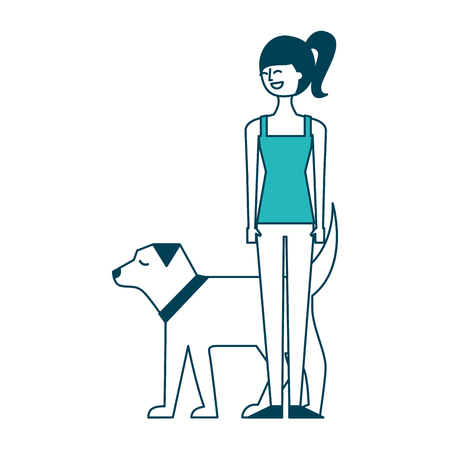 young woman walking with her dog pet vector illustration green design