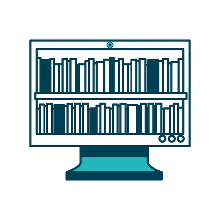 books on monitor screen online library education vector illustration green design Illustration