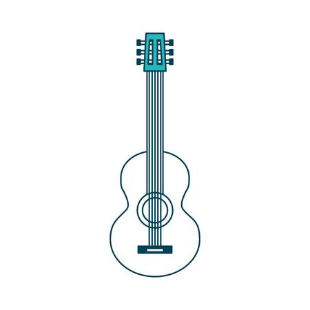 classic guitar instrument musical image vector illustration green design