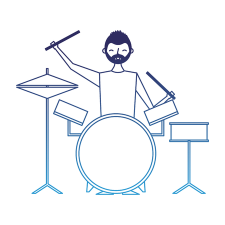 smiling man playing instrument music battery vector illustration degraded blue