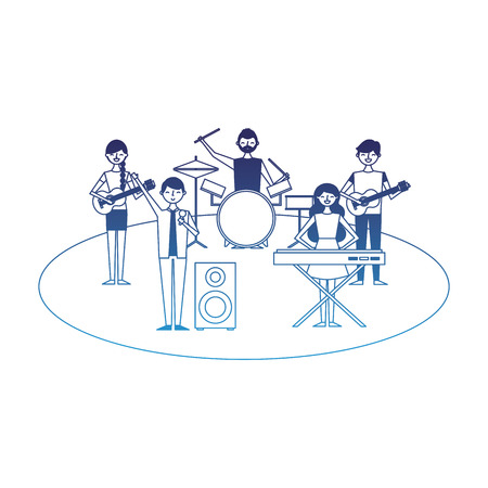 musician band concert people with instruments vector illustration degraded blue