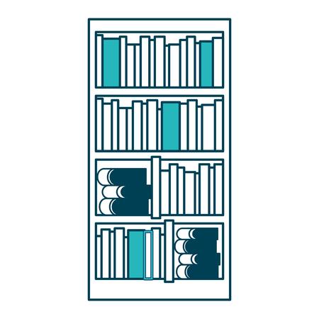 Estantería grande con diferentes libros literatura ilustración vectorial diseño verde Foto de archivo - 97675382