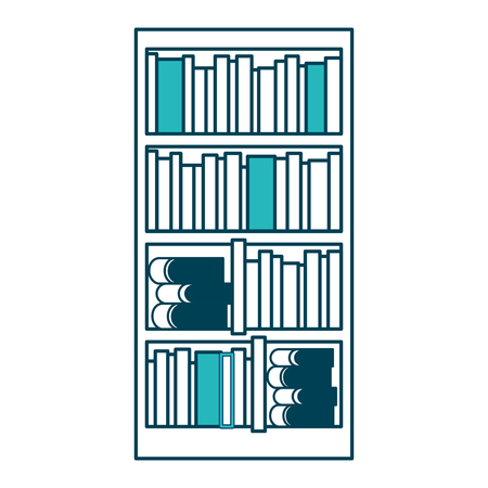 large bookcase with different books literature vector illustration green design