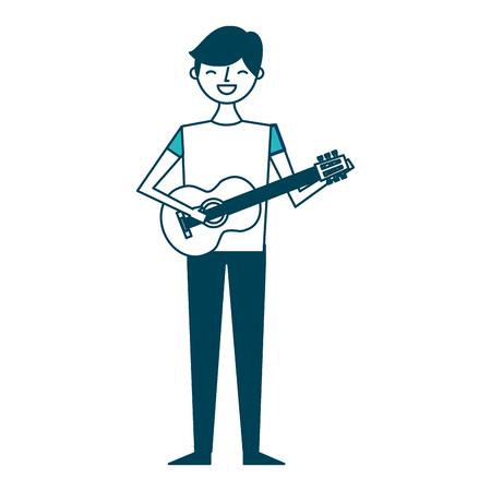 young musician man playing guitar vector illustration green design