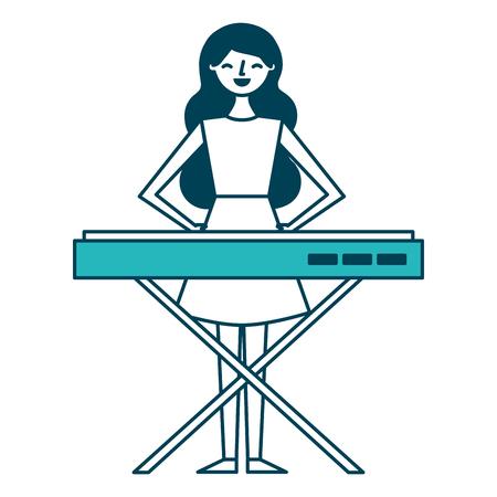 シンセサイザーベクターイラストグリーンデザインをプレイかわいい漫画幸せな女性  イラスト・ベクター素材