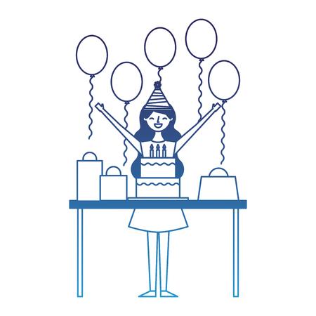 happy woman celebrating birthday cake gift balloons vector illustration degraded blue Illustration