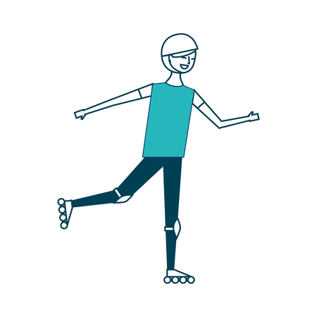 happy young man riding in roller skate sport vector illustration green design Ilustrace