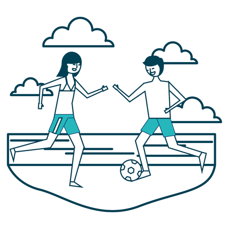 couple cartoon playing in the beach with soccer ball vector illustration green design